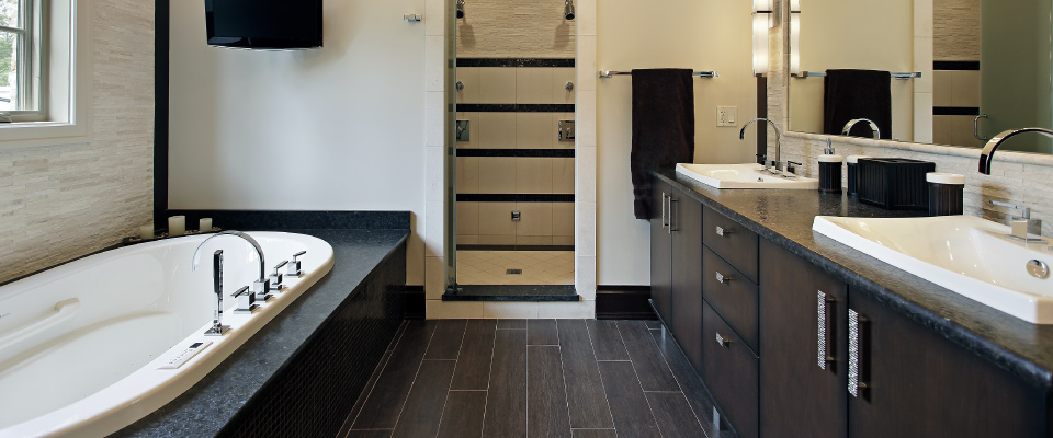 Bathroom with wood paneling finish